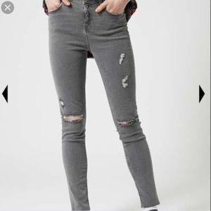 Topshop Gray Distressed Moto Jamie Skinny Jeans